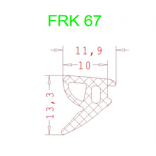Уплотнитель Алютех FRK 67 7мм чёрный 1 метр.